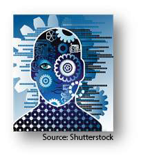 Artwork depicting a mechanized or computerized human. Source: Shutterstock