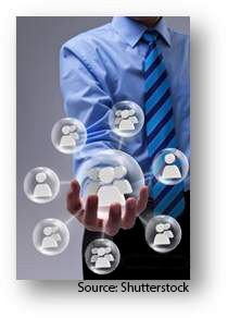 "A man ""holding"" a social network in his hand. Source: Shutterstock"