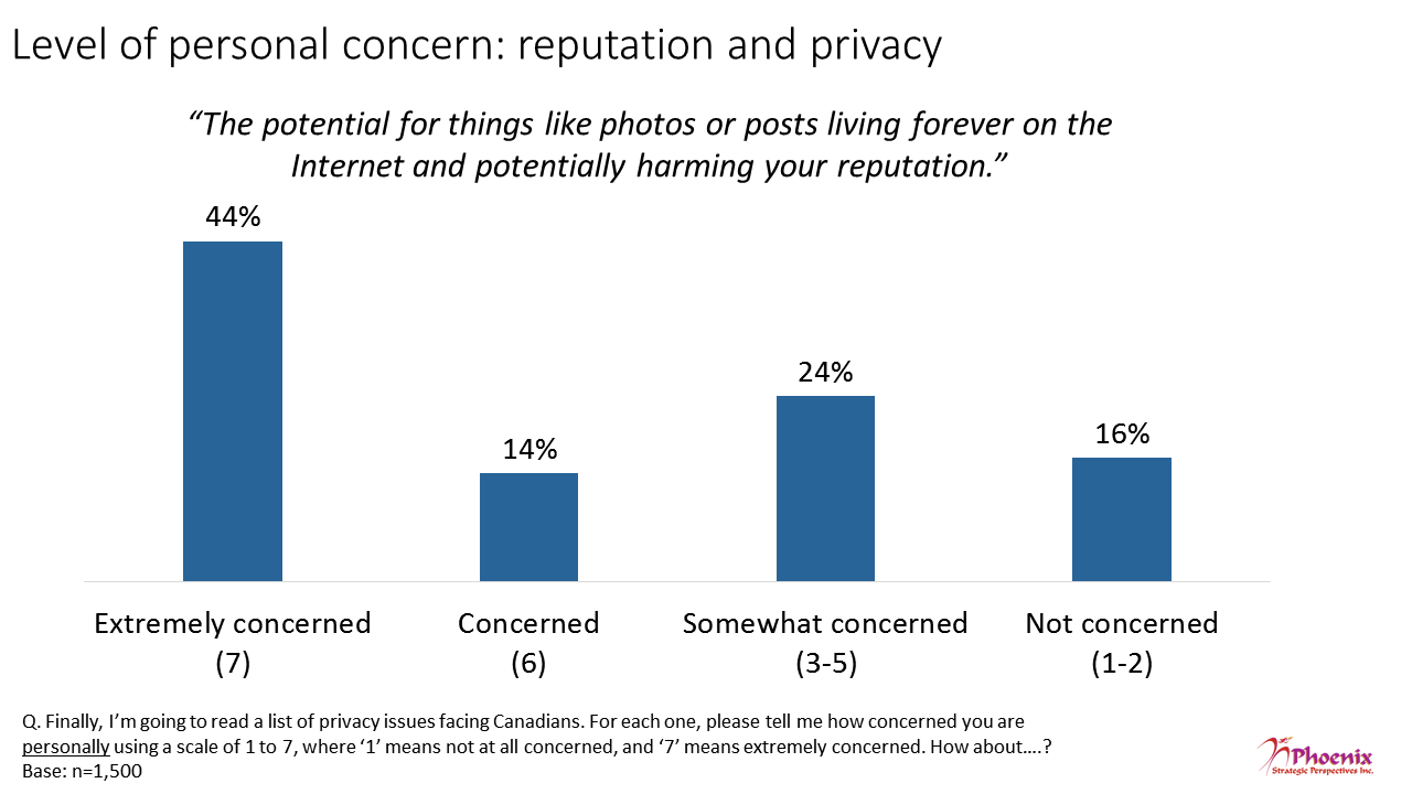 Figure 12: Level of personal concern: reputation and privacy