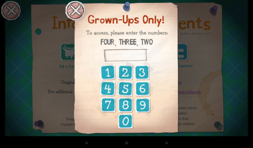 Parental control says area is for grown-ups only and asks user to enter three numbers.
