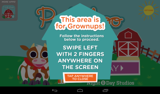 Parental control says area is for grownups and asks user to swipe left with two fingers anywhere on the screen.