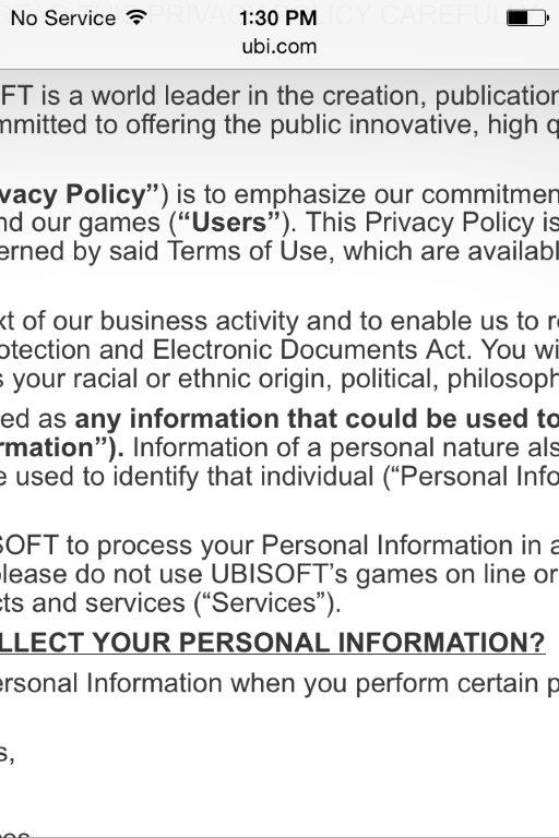 Ubisoft privacy policy on iOS