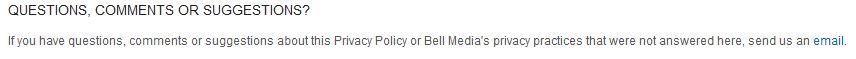 New Bell Media privacy policy