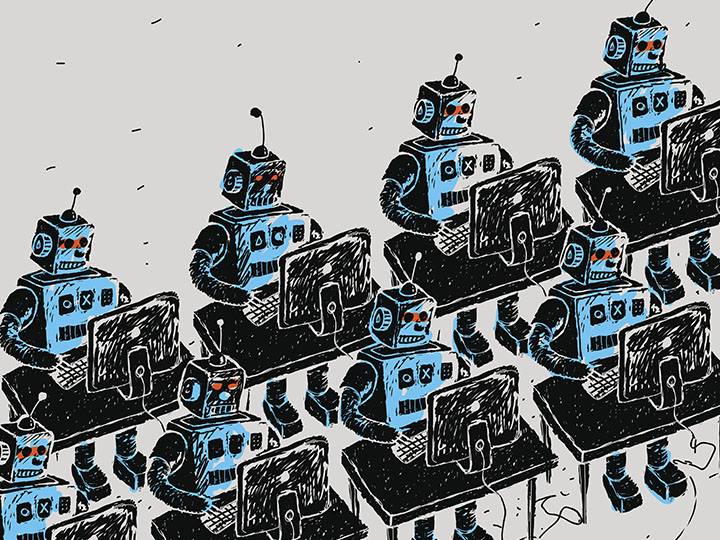 A cartoon depicts robots sitting at desks typing on computers.