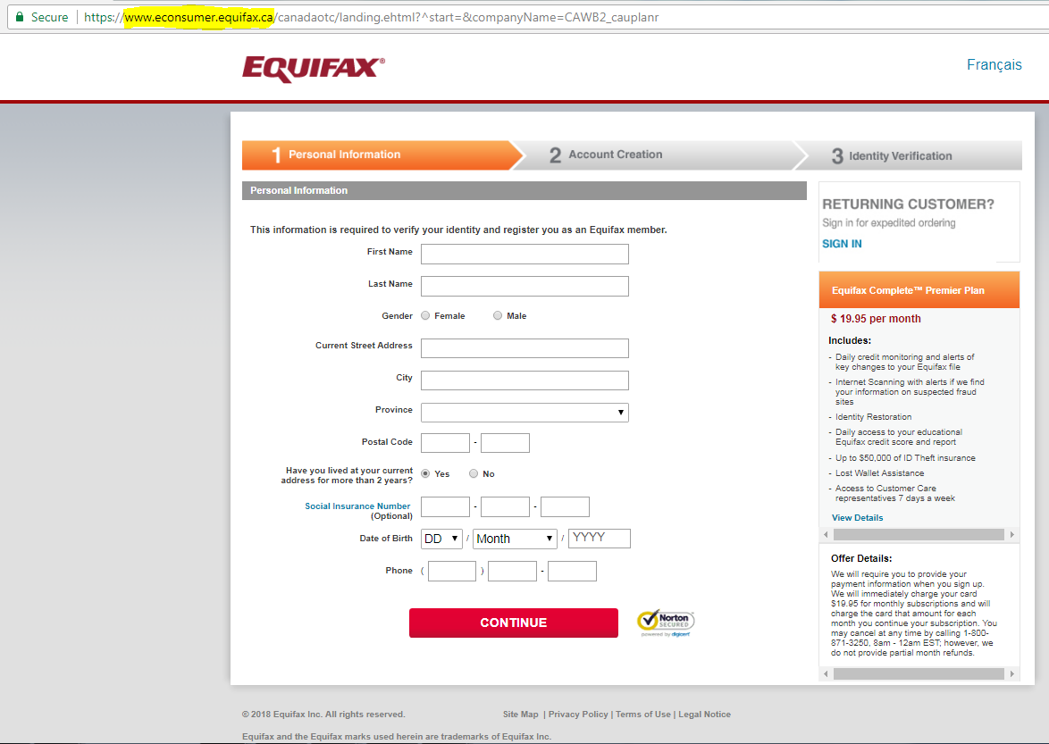 Figure 2. A screen-capture of the Equifax GCS portal on Equifax.ca, as described in paragraph 102.