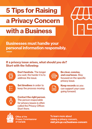 Printable information card: 5 Tips for Raising a Privacy Concern with a Business. Description follows.