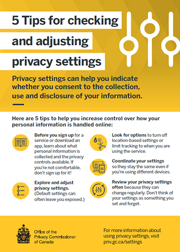 Printable information card: 5 Tips for checking and adjusting privacy settings. Description follows.