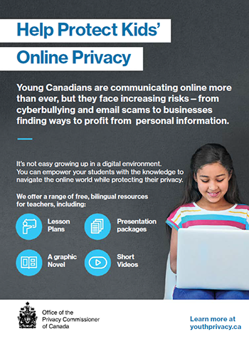 Printable information card:  Help Protect Kids' Online Privacy. Description follows.