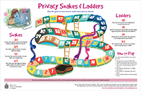 Thumbnail of the Privacy Snakes and Ladders activity sheet, described in the text description that immediately follows.