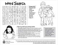 Thumbnail of the Word search activity sheet, described in the text description that immediately follows.